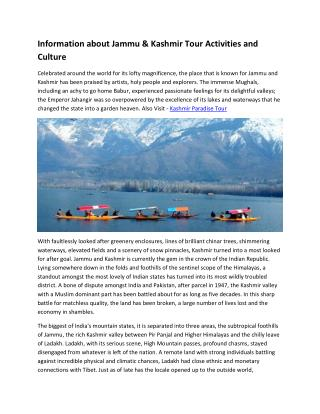 Information about Jammu & Kashmir Tour Activities and Culture