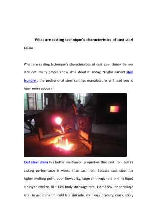 What are casting technique's characteristics of cast steel china