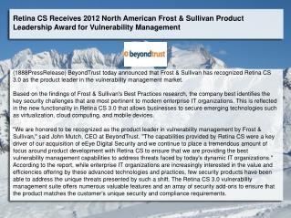 Retina CS Receives 2012 North American Frost & Sullivan Prod