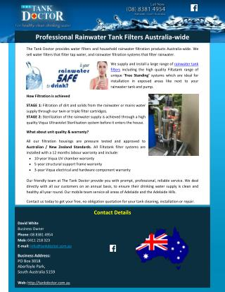 Professional Rainwater Tank Filters Australia-wide