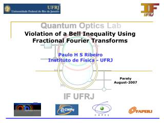 Violation of a Bell Inequality Using Fractional Fourier Transforms