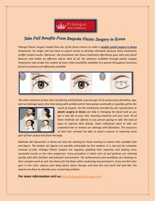 Take Full Benefits From Bespoke Plastic Surgery in Korea