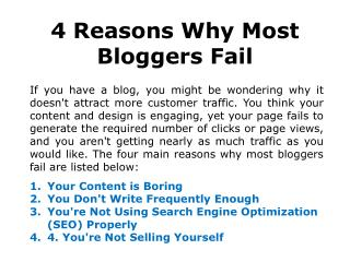 4 Reasons: Why Bloggers Fail?
