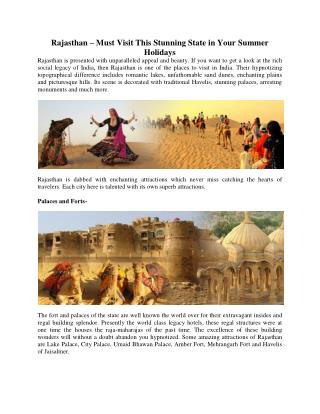 Rajasthan – Must Visit This Stunning State in Your Summer Holidays