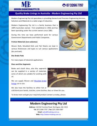 Quality Brake Linings in Australia - Modern Engineering Pty Ltd
