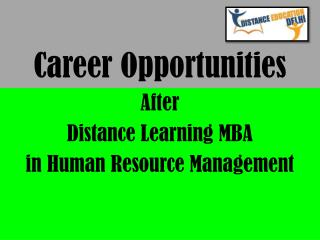 Career opportunities after distance learning MBA in Human resource management