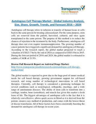 Autologous Cell Therapy Market is expanding at a CAGR of 21.9% from 2016 to 2024