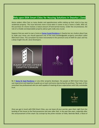 Rely upon DDA Smart Cities for Housing Solutions in Dwarka L Zone