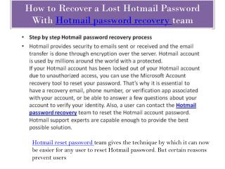 Hotmail password recovery come up with hacker's issues