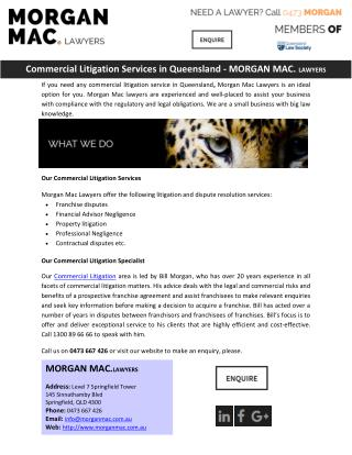 Commercial Litigation Services in Queensland - MORGAN MAC. LAWYERS