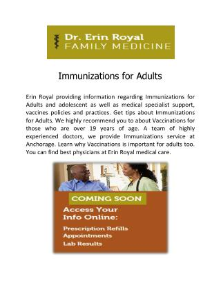 Immunizations for Adults