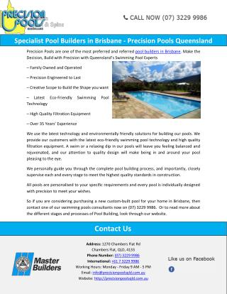 Specialist Pool Builders in Brisbane - Precision Pools Queensland