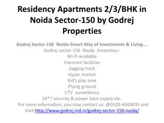 Residency Apartments 2/3/BHK in Noida Sector-150 by Godrej Properties