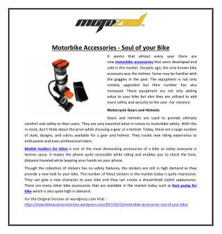 Motorbike Accessories - Soul of your Bike