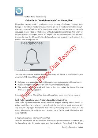 Quick Fix for Headphone Mode on iPhone/iPad