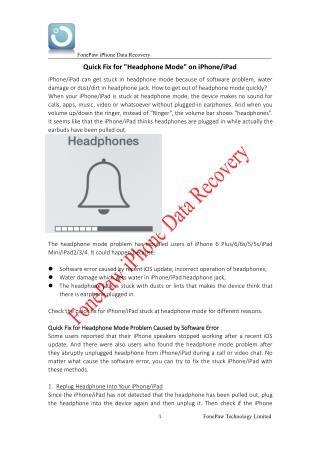 Quick Fix for Headphone Mode on iPhone/iPad