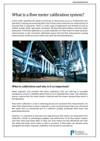 Liquid Flow Meter Calibration Equipment : Proteus Industries Inc.