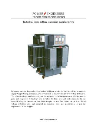 Industrial servo voltage stabilizers manufacturers
