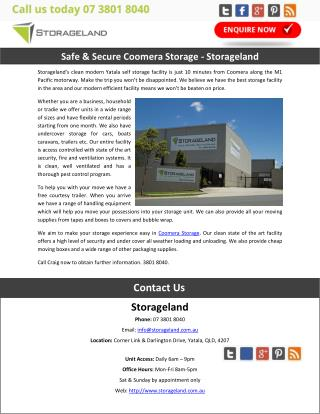 Safe & Secure Coomera Storage – Storageland