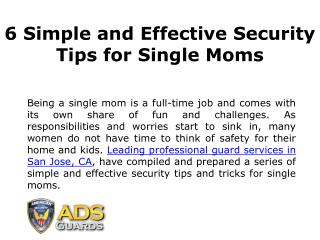 6 Simple and Effective Security Tips for Single Moms