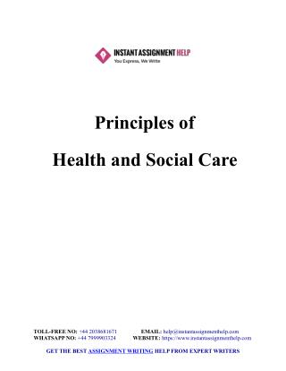 Principles of Health and Social Care Sample Assignment