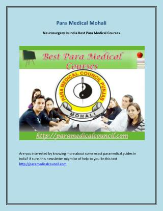 Neurosurgery In India Best Para Medical Courses