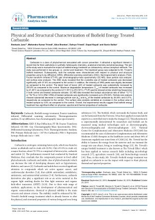 Physical and Structural Characterization of Biofield Energy Treated Carbazole