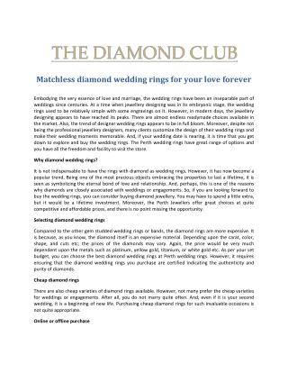 Diamond Wedding Rings from the Perth Jewellers