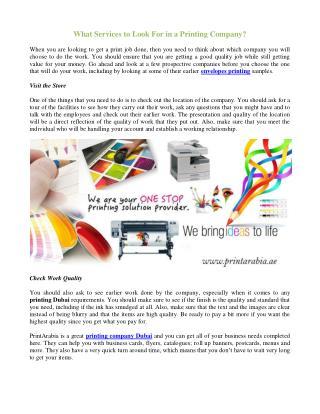 Envelopes Printing Company Dubai