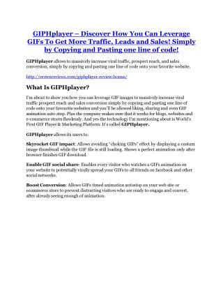 GIPHplayer REVIEW & GIPHplayer (SECRET) Bonuses