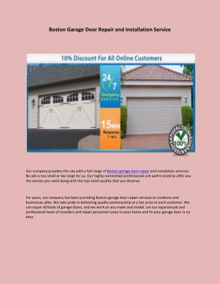 Boston garage door repair and installation service