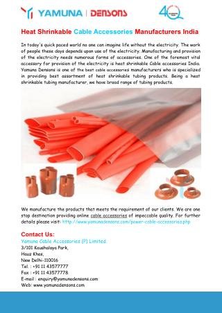 Heat Shrinkable Cable Accessories Manufacturers In India