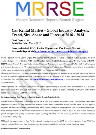 Global Car Rental Market is All Set to Witness a Strong CAGR of 14.40% during the forecast Period of 2014-24, says TMR