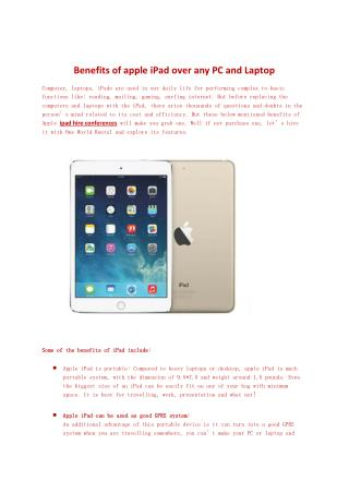 Benefits of apple iPad over any PC and Laptop