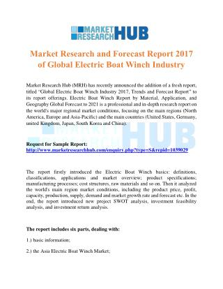 Market Research and Forecast Report 2017 of Global Electric Boat Winch Industry
