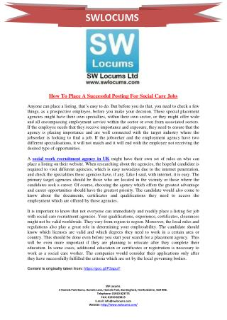 How To Place A Successful Posting For Social Care Jobs