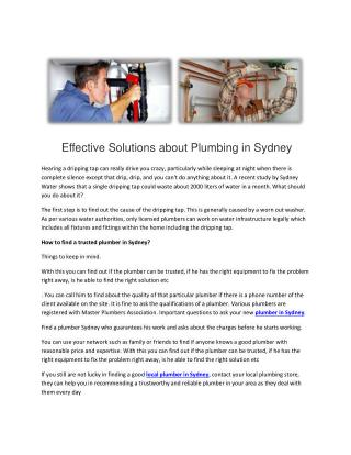 Effective Solutions about Plumbing in Sydney