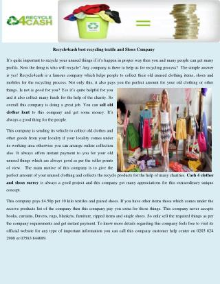 Recycle4cash best recycling textile and Shoes Company