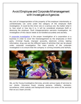 Avoid Employee and Corporate Mismanagement with Investigative Agencies