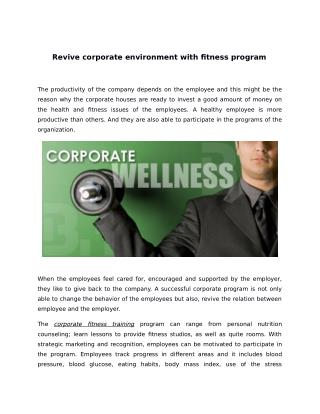 Revive corporate environment with fitness program