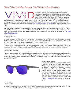 vivid Value Soho Eyeglasses Collection from Daniel Walters