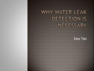 Water Leak Detection Can Save your Water Bill