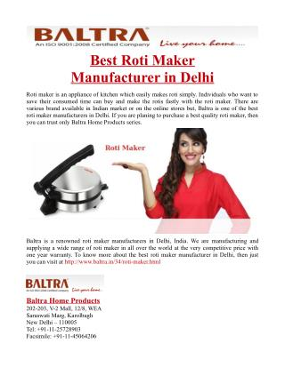 Best Roti Maker Manufacturer in Delhi