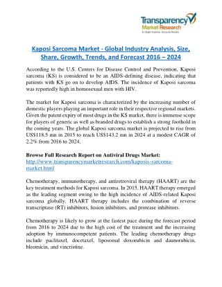 Kaposi Sarcoma Market will rise to US$ 143.2 Million by 2024