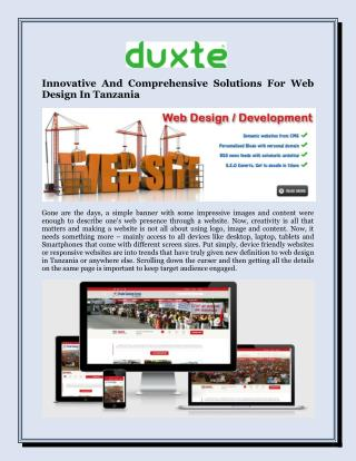 Innovative And Comprehensive Solutions For Web Design In Tanzania