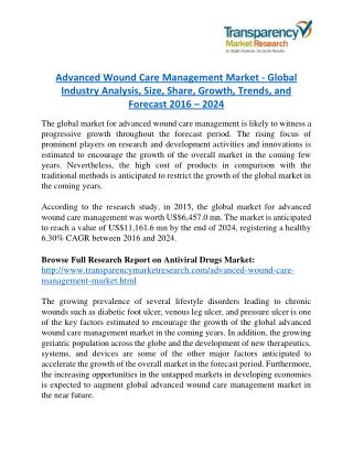 Advanced Wound Care Management Market will rise to US$ 11,161.6 Million by 2024