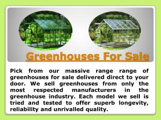 Greenhouse Sale Offers