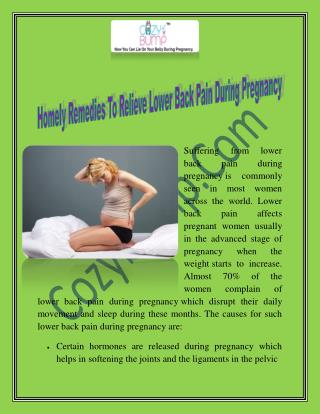 Homely Remedies To Relieve Lower Back Pain During Pregnancy