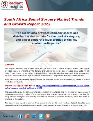 South Africa Spinal Surgery Market Size, Share and Outlook Report 2022