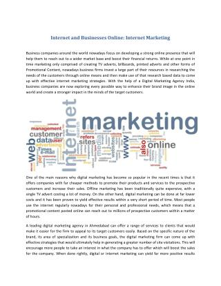 Internet and Businesses Online: Internet Marketing